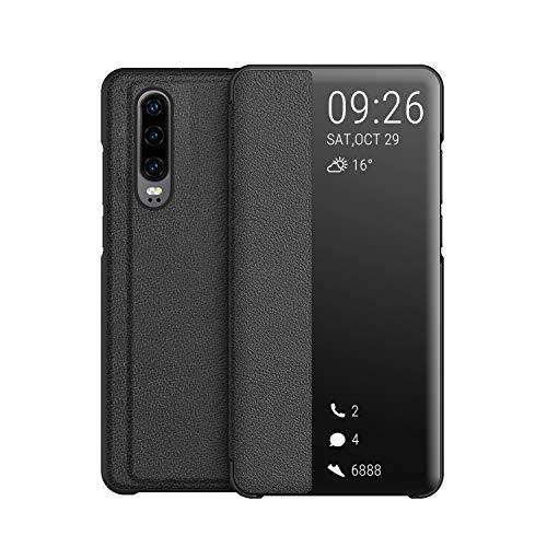 KANSI Compatible con Huawei P30 Funda, Smart View Flip Funda de Cuero + Cristal Templado - Negro