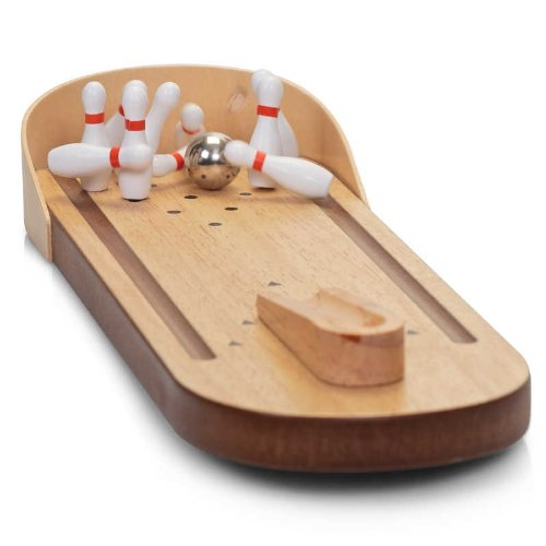 Tobar Classic Games - Desktop Wooden Miniature Bowling Alley