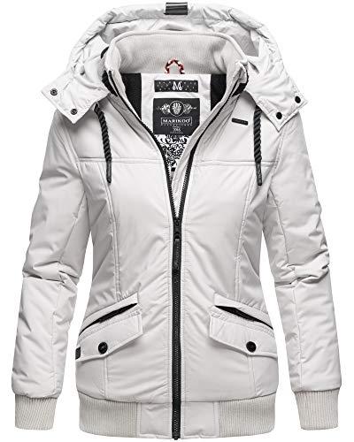Marikoo Winter Jacke Damen Outdoor Winterjacke mit Kapuze XS - XXL SMKO (S, Hellgrau)