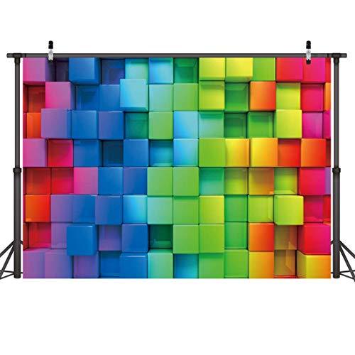 LYWYGG 7x5FT Vivid Rubik's Cube Telón de Fondo Color de Dibujos Animados Cubo de Rubik Niños Feliz Cumpleaños Fotografía Telón de Fondo Baby Show Party Supplies Recién Nacido Retrato Decoración CP-217
