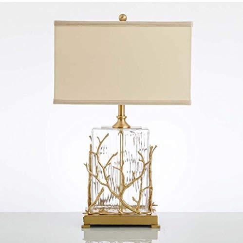 Hancoc Lámpara de mesa de cristal de cobre con diseño de árbol de cristal para sala de estar, sala de estar, villa, modelo de habitación, hotel, vestíbulo, cristal, 39 x 61 cm