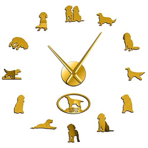 hufeng Reloj de Pared Reloj de Pared DIY Pegatinas de Arte de Pared Perro Reloj para Mascotas Reloj Artista Retro Decoración para el hogar Regalo para dueños de Perros Oro 47 Pulgadas