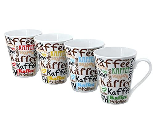 Fischer Bamberg by Retsch Arzberg/Kaffeebecher-Set 4-teilig KAFFEE SCRIPT/Porzellan/dekoriert ca. 300 ml Inhalt/4 Dekore im Set