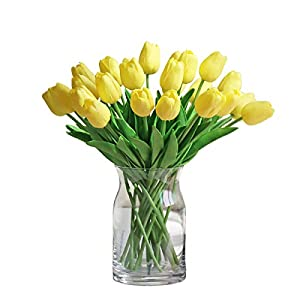 Silk Flower Arrangements Momkids 20 Pcs Artificial Tulips Fake Faux PU Tulips Bouquet Real Touch Flower for Hotel Banquet Arrangement Home Living Room Dining Table Wedding Party Decor(Yellow 12.5 Inch)