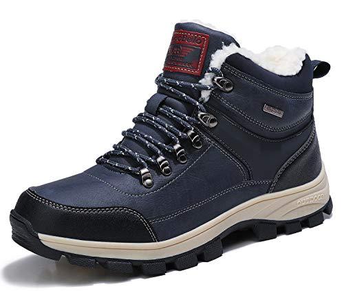 ARRIGO BELLO Mens Snow Boots Winter Warm Ankle Fully Fur Lined Anti-Slip...