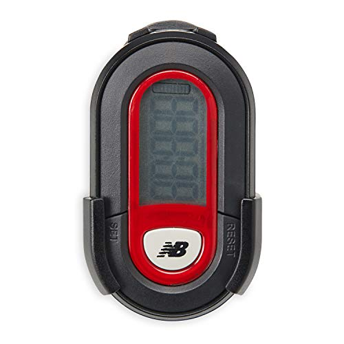 New Balance Step Counter Pedometer - Belt Clipon Pedometer Fitness Tracker Walking Meter with Removable Base Ideal for Women, Men, Kids to Count Steps, Distance, Calories Burned & Time, Black/Red