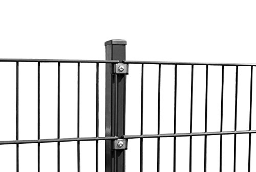Doppelstab Zaun Höhe 143 cm Länge 10 - 50 m - inkl. Pfosten Gittermatten Zaun-Set Doppelstabmattenzaun Gartenzaun (20 m, Grau)