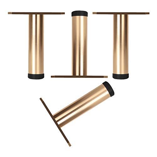 4Pcs Piernas de Gabinete de Aleación de Aluminio,Patas de Sofá,Pies de Muebles de Metal,Repuesto para Cama,Gabinete de TV,Otomanas,Altura Ajustable 0-8mm,Placa de Montaje Triangular(gold10cm)