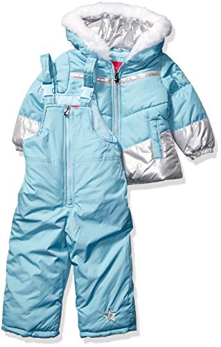 LONDON FOG Baby Girls Snowsuit with Snowbib and Puffer Jacket, September Sky Foil, 12Mo