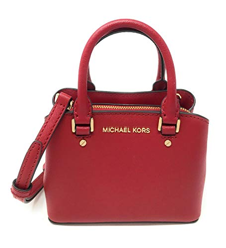 Michael Kors Mini Savannah XS Saffiano Leather Satchel Crossbody Bag (Scarlet)