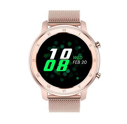 Aliwisdom Smartwatch per uomo donna bambini, 1,28'' Rotondo Smart watch Fitness Tracker impermeabile orologio fitness Cinturino in metallo per iphone Android, con Promemoria intelligente (Oro rosa)