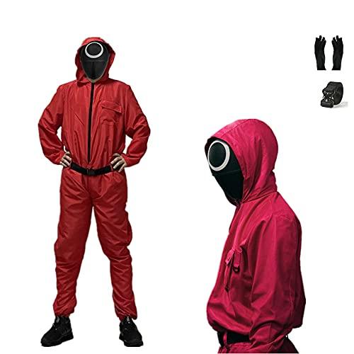 CQXSKWZ Juego de calamar Cosplay traje rojo de una pieza serie de TV coreana Disfraces de fiesta de Halloween con cinturn y guantes, Abrigo, cinturn y guantes, Large