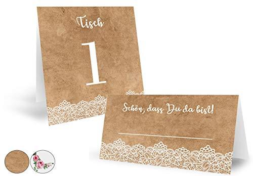ZARWALD Tischkarten Platzkarten mit Einzigartigem Design, 50 Stück + 10 Extra Tischnummern | Spitze | Kraftpapier Optik 350g | Premium Qualität Schilder für Hochzeit oder Geburtstag (Braun)