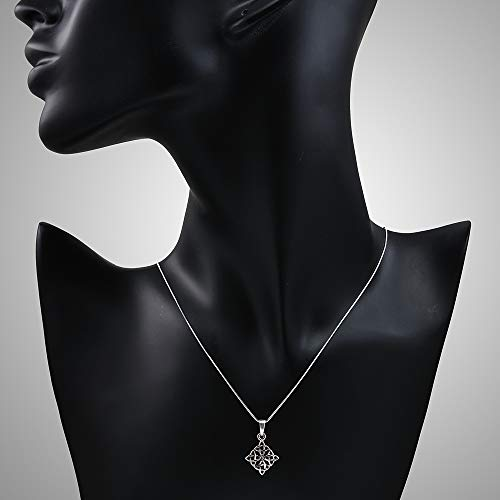 Chuvora 925 Sterling Silver Celtic Knot Symbol Square Pendant Necklace, 18 inches