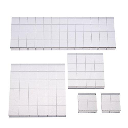 Stempel Block Acryl Block mit Gitterlinien, Sortierte Größen, 5 Stück