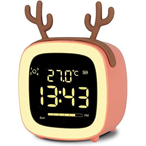 Duvets Wake Up Light LED Despertador, Recargable Despertador para Niños, Reloj Despertador Digital para Niños, Lindo Diseño Luz Nocturna, Despertador Cuenta, Snooze, 12/24 Hrs, 4 Alarmas