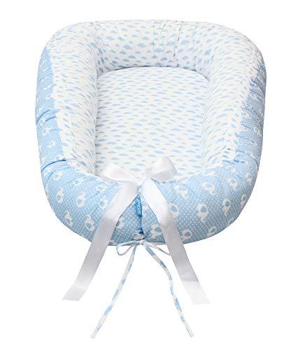 Scamp Cuna de viaje para bebé, 100% algodón, certificado Öko-Tex 100 Standard, con colchón de coco (Blue Clouds Elephant)