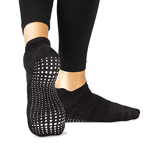 LA Active Calze Presa Antiscivolo Cotone - 1 Paio - Per Yoga Pilates Danza Ballet Sbarra (Stellar Black, 34-37 EU)