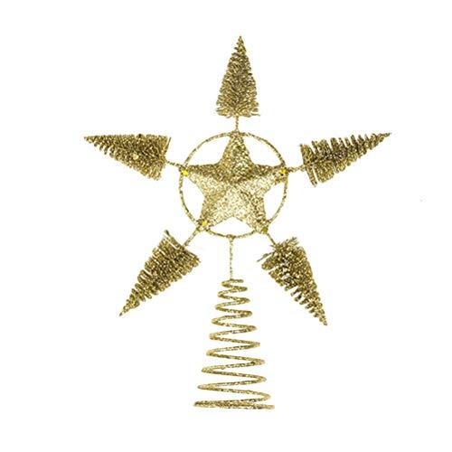 BESTOYARD Estrella de Árbol de Navidad Oro Dorado Brillante para Decoración de Copa de Árbol de Navideño