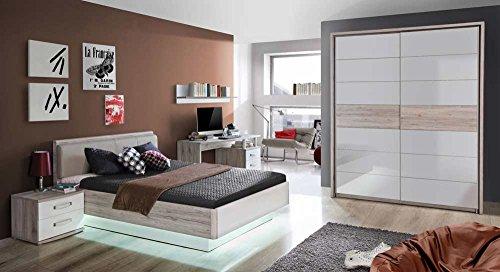 lifestyle4living Jugendzimmer in Sandeiche-NB und weiß Hochglanz, Bett (ca. 140x200cm), Nachtkommode, Schreibtisch, Wandregal, Schwebetürenschrank...