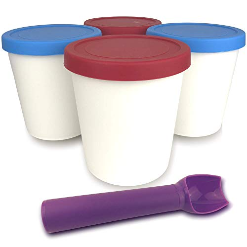 DREC Ice Cream Containers (4 Pack–1 Quart Each) Large Reusable BPA-Free Freezer Storage Tubs with Tight Sealing Lids for Perfectly Fresh Ice Cream, Soup, Sorbet, Gelato with No Frost Comes With Scoop