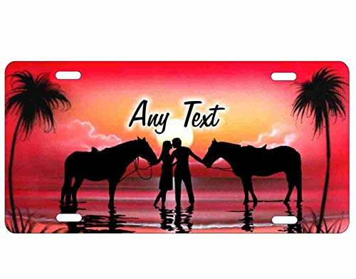 ATD Couple on The Beach with Horses Airbrush Red Beach Scene Personalized Novelty Front License Plate for Lovers Decorative Vanity Car Tag