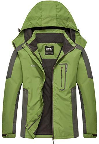 Diamond Candy Waterproof Rain Jacket Women Lightweight Outdoor Raincoat Hooded for Hiking Green XXL