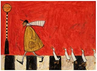 Crossing With Ducks Sam Toft Contemporary Humor Print Poster, Overall Size: 19.75x15.75, Image Size: 15.75x11.5