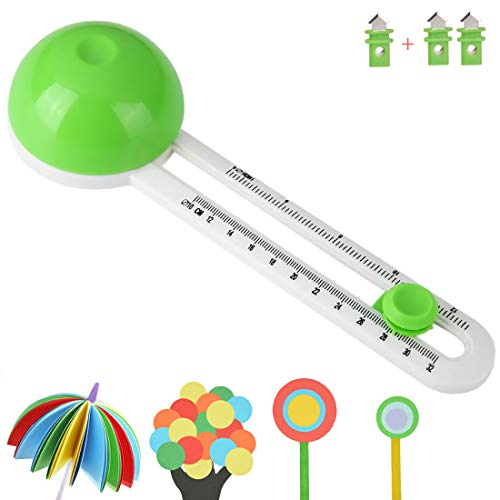 Circular Paper Cutter Cut Circle Paper Trimmer Scrapbooking Tool Rotary Cutter Craft Supplies, Round Cutting Knife Cards Cutters (Included 3 Blades)
