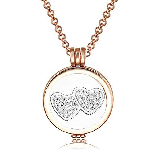 AKKi jewelry Damen Amulett Coins 25 mm Set Angebot Lange Kette Angänger mit Münzen Zirkoniasteine Starter wechsel-schmuck