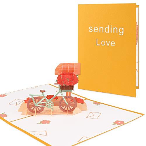 Vegena Biglietto d'Auguri Matrimonio Anniversario Pop Up 3D Carta Biglietti Augurali Compleanno Romantico Biglietti Natale Invito Compleanno Mamma con Busta per Moglie Marito Fidanzata Sposa