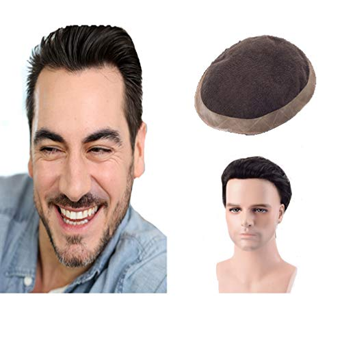 Lordhair Toupet für Herren, Schweizer Spitze, Echthaar, Poly Skin Around Hair System PU Perimeter Ersatz gefaltete Lace Front für Männer, Off Black Farbe #1B