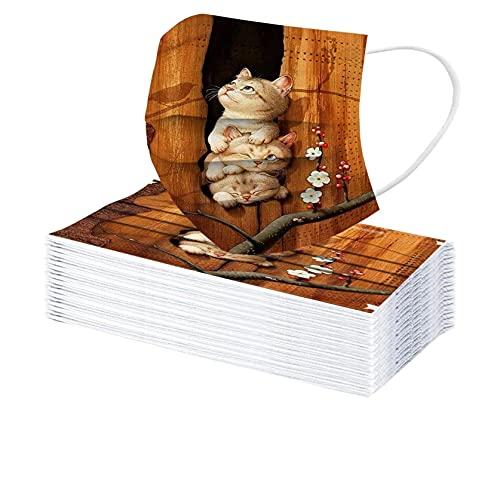 Rabbiter 30 Stück Mundschutz mit Motiv Erwachsene Einweg Katze Drucken Mund Nasenschutz 3 Lagig Staubdicht Atmungsaktiv Bandanas Halstuch für Damen Herren (D1)