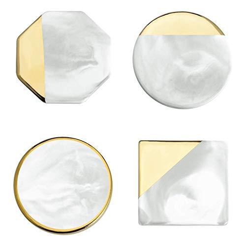 Loned Marmor Untersetzer für Gläser, Glasuntersetzer 4er Set Keramik Isolierter Untersetzer mit Vergoldeter Rand