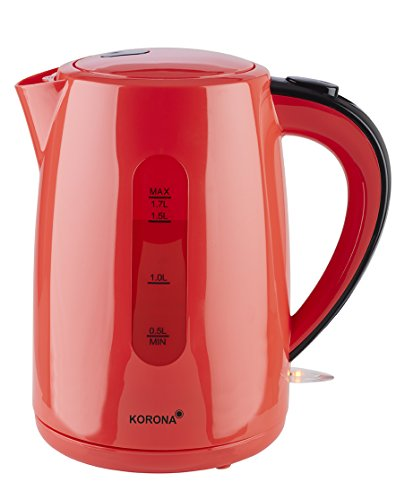 Korona 20132 Wasserkocher | 1,7 Liter Fassungsvermögen | rot | Leistungsstarker Kocher | mit 360° Basisstation