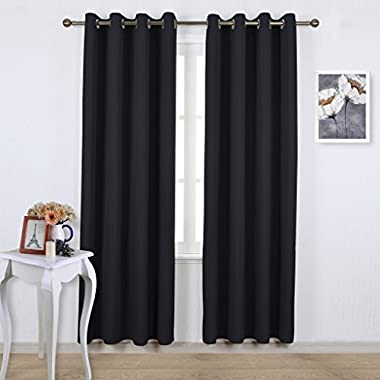 NICETOWN Blackout Curtain Panels 84  - Light Reducing Thermal Insulated Solid Grommet Blackout Curtains/Panels/Drapes for Livingroom (Set of 2, 52 Inch by 84 Inch, Black)