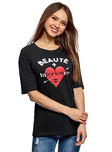 oodji Ultra Mujer Camiseta Holgada con Estampado, Negro, ES 40 / M