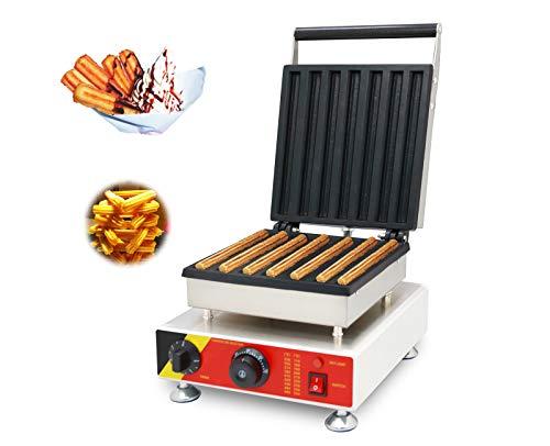 zhixiu® Macchina per Churros Spagnolo Waffle Macchina Elettrico Churrera Maker 7 Churros in 5 Minuti,Termostato Regolabile,Con timer (220V)