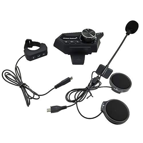 Auriculares de Casco de Motor Bluetooth 5.0 Wireless Handsfree Auricular estéreo Auricular Auriculares HiFi con Controlador de Manillar (Color : Black No Box)