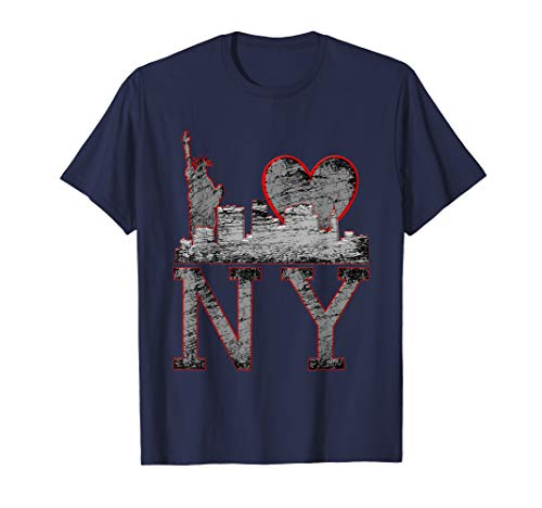 NY New York, Distressed Gray Heart, Liberty, Skyline T-Shirt