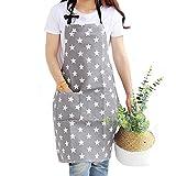 Dusenly Grembiule da donna con due tasche alla moda con motivo a stella in cotone e tela, per cucina, griglia, cottura e cottura (grigio)