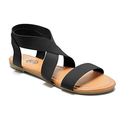 Trary Flat Sandals - Open Toe Cute Elastic Sandals for Women New Black 08