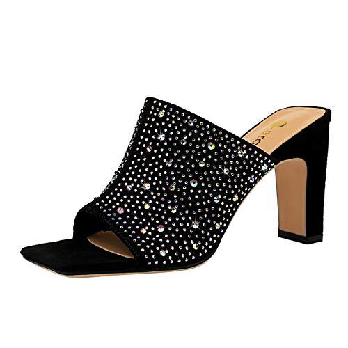 AYUSHOP Sandalias para Mujer Zapatos de tacón para Mujer Sexy Punta Abierta de tacón Medio bajo para Vestir Zapatos de Corte Fiesta de Noche Fiesta, para Vacaciones en la Playa al Aire Libre,Negro,40