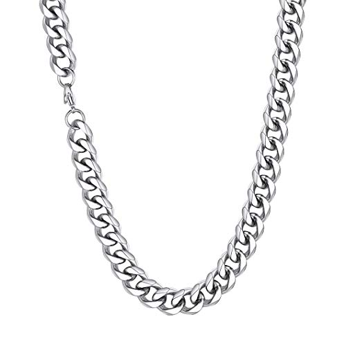 Richsteel Cadena Ancha 12mm Men Necklace Collar Acero Inoxidable homobre 46cm Largo, Regalo Novio Hijo cumpleaños San Valentín