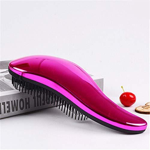 1 stücke Antistatische Haarbürste Kamm Styling Werkzeuge Dusche Elektroplatten Detangling Massage Kämme für Salon Styling Frauen Mädchen Haare (Color : Purple red)