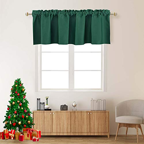 Hunter Green Valances for Kitchen 1 Panel Darkening Solid Blackout Valance Curtains for Loft and Nursery Window with Rod Pocket 18 Inch Length for Girls Boys Bedroom Small Window 42 X 18 Inches