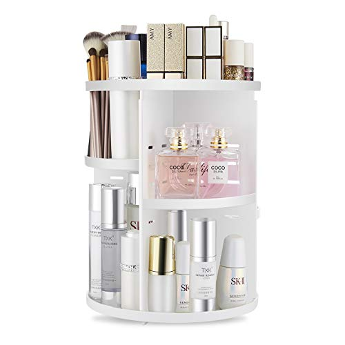 Seinlife 360 Rotating Makeup Organizer,DIY Adjustable Spinning Holder,Foldable Cosmetic Storage Display box,Large Capacity Make up Caddy Shelf,Fits Countertop Vanity and Bathroom (WHITE)