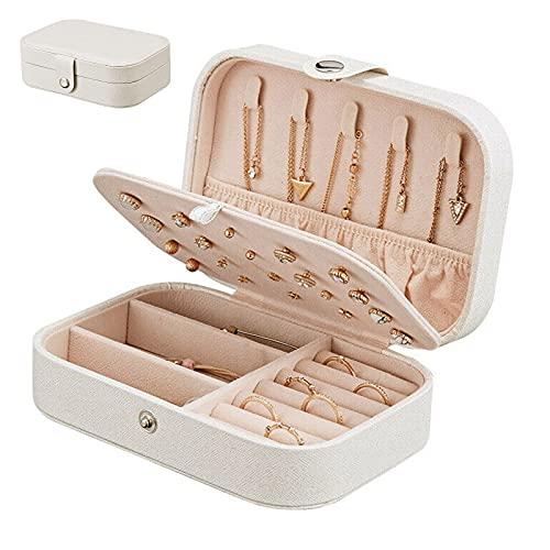 Caja de joyería portátil de viaje, de cuero sintético, caja de almacenamiento de joyería de doble capa, utilizada para almacenar y exhibir anillos, collares, pulseras, pendientes (blanco)