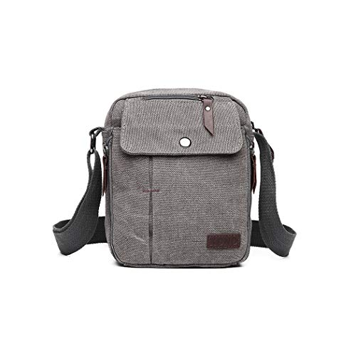 Kono Men Shoulder Bags Small Canvas Messenger Travel Organizer Satchel Durable Multi-Pocket Sling Cross Body Bag Pack (Grey)