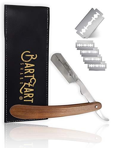 BartZart Rasiermesser mit Wechselklinge-n | Rasiermesser Set mit Holzgriff, Astra Rasierklingen und schwarzem Etui | ideales Rasiermesser für Anfänger
